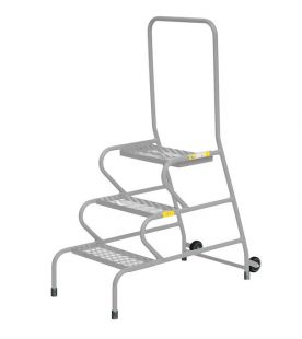 GPC 3 Step Fort Stable Step Galvanized Finish With Handrail & Rear Wheels