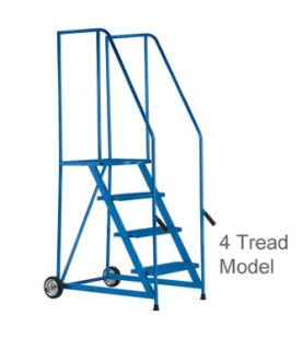 B&J 5 Tread Lift & Push Mobile Safety Steps With Painted Finish