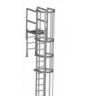 Zarges Fixed Ladders - Roof Parapet with Hoop & Crossover
