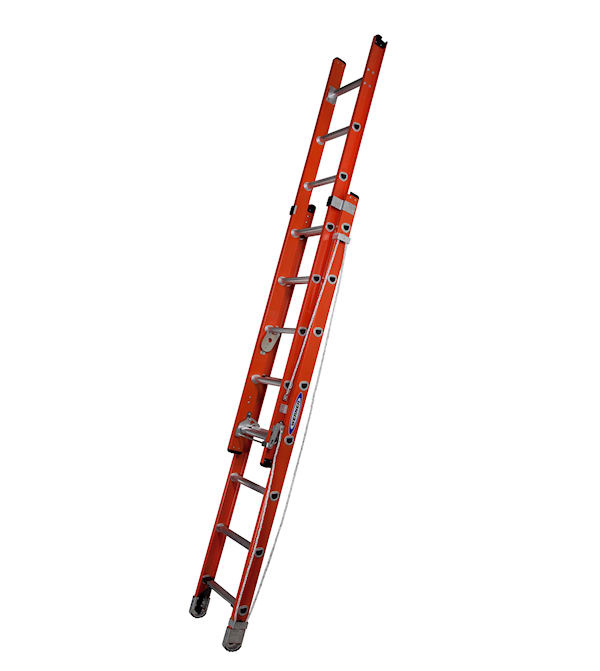 werner heavy duty fibreglass extension ladder with alflo rungs