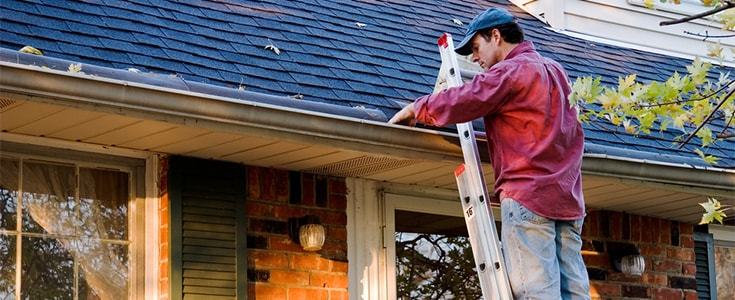 clearing gutters